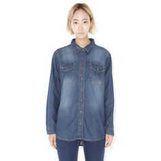 Today's Hot Pick :Bleached Denim Button-Down Shirt http://fashionstylep.com/P0000ZZF/ju021026/out Brave the denim-on-denim trend with this easy to wear button-down shirt. It has a pointed collar, front button-down closure, breast pockets, long-sleeves with single barrel cuffs, relaxed fit, and bleached denim. Wear it with denim pants and white ankle-strap sandals for a clean, sophisticated, and on trend outfit.