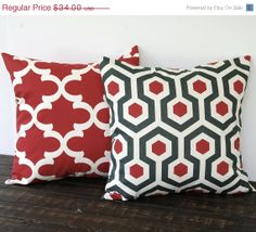 """Red throw pillow covers Pair 18"""" x 18"""" cushion cover red charcoal gray ivory natural modern minimalist decor"""