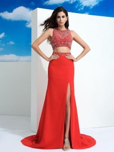 Sheath/Column Scoop Beading Sleeveless Court Train Chiffon Dresses