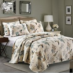 Brandream American Country Comforter Sets Birds Printing Queen Quilt Set Beige 3Pcs ** Click on the image for additional details.