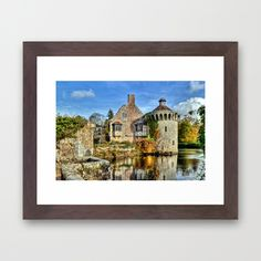 Scotney Castle Framed Art Print#wallart #walldecor #homedecor #framedart #dorm #castle #architecture #moat #English #historical