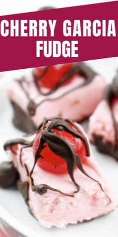 Cherry Garcia Fudge Dessert Recipe! Layers of chocolate, cherry-flavored marshmallow, a cherry and drizzled with even more chocolate. So divine!