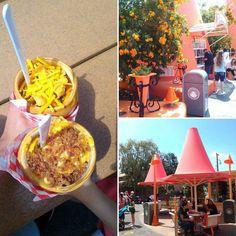 Chili-cone queso and bacon mac n cheese cones at the cozy cone motel #Disneyland #disneyland60 #disney60 #disneycaliforniaadventure #carsland #cozyconemotel #food  #conefood by _marcusng