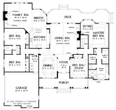 First Floor Plan of The Edgewater - House Plan Number 1009  ****ALL TIME FAVORITE*** This would be my home if we could swing it!!! 2 living areas - sitting area in master 3 baths (not 4)  It's perfect!!!