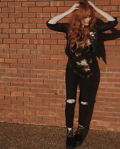 When your hair blends in with the brick wall you stand in front of   New shoes by @tuk_footwear  by xomissdanielle
