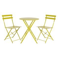 PARC Saffron yellow metal folding garden bistro set
