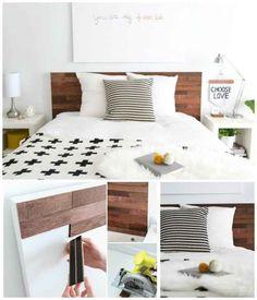 Usa tiras de madera con reverso adhesivo, llamadas StikWood, para modernizar una cabecera.