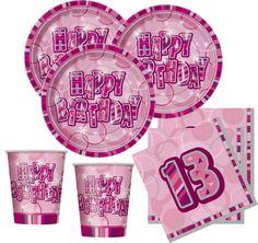 Party Deko zum 13. Geburtstag -Party Set in Pink mit Glitzer