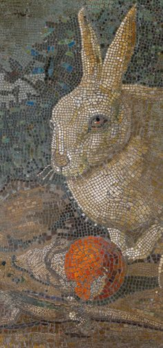 Mosaïque au lapin, au lézard et au champignon. / Tile mosaic with rabbit, lizard and mushroom. / ou début / or early century. / The Metropolitan Museum of Art. Tile Art, Mosaic Art, Mosaic Glass, Mosaic Tiles, Sicis Mosaic, Gravure Illustration, Mosaic Animals, Mosaic Madness, Rabbit Art
