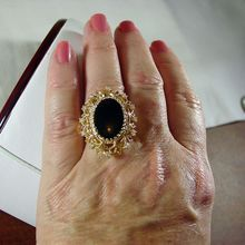 Fabulous, Large 14K Yellow Gold Black Onyx and Diamond Ring, Size 8 3/4