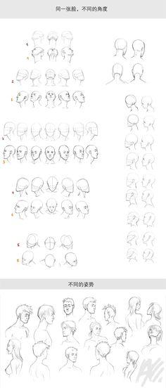 【头部各角度集合】同一张脸,以不同的角度去观察可是会呈现不一样的面容哦!即便同样是侧面,左右脸也会有所区别!本组素材就是以同一张脸为案例,呈现多种角度的头部状态! - Duitang.com