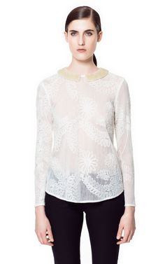 $26 EMBROIDERED BLOUSE WITH EMBELLISHED COLLAR - Tops - Woman   ZARA United States
