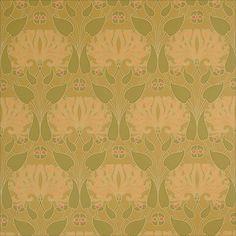 Bradbury Craftsman Style Floral Wallpaper   Honeysuckle Wallpaper in Ochre
