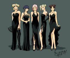 NARUTO ladies (temaru, hinata, sakura, ino & tenten) frm left to the right