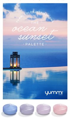 The Ocean Sunset Palette! Yummi Color Inspirations. Shop Now at www.YummiCandles.com