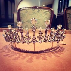 Victorian fringe necklace tiara with diamonds, circa 1875.