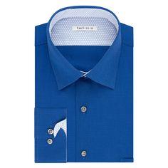 Men's Van Heusen Air Regular-Fit Stretch Dress Shirt, Size: 17.5-34/35, Blue (Navy)