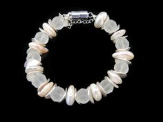 White pearl bracelet. handmade beadwork semi precious gemstone bracelet, made of iced rhinestone, buttonpearls, silver, with magnetic clasp - pinned by pin4etsy.com