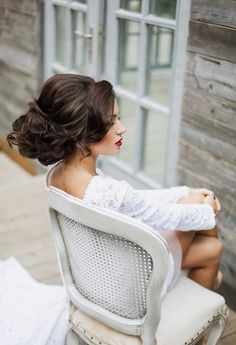 Curled updo with lift in the crown ~ we ♥ this! moncheribridals.com