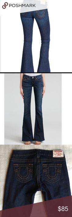 "True Religion Flare Jeans Dark blue flare jeans by true religion. 30"" inseam. Size 27, (equivalent to a 4) Perfect condition, NWOT. True Religion Jeans Flare & Wide Leg"