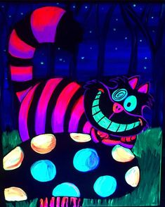 Excited to share this item from my shop: Cheshire Cat blacklight painting Hippie Painting, Trippy Painting, Neon Painting, Painting Art, Cheshire Cat Art, Chesire Cat, Arte Disney, Disney Art, Psychedelic Art