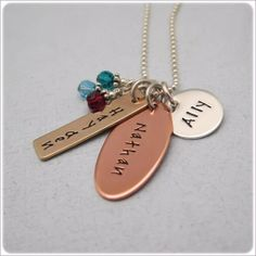 Stamped Metal Jewelry | ... Copper Bronze Silver : Personalized For Mommy : Hand Stamped Jewelry