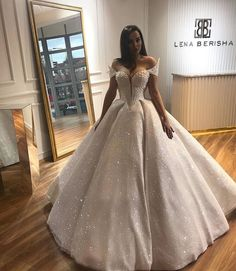 vestiti da sposa Off Shoulder Short Sleeve Pearls Shiny Wedding Dress Skirt is great, top is a bit much for me Princess Wedding Dresses, Dream Wedding Dresses, Bridal Dresses, Wedding Gowns, Lace Wedding, Cinderella Wedding, Quince Dresses, Ball Dresses, Ball Gowns