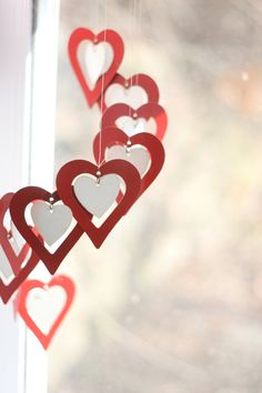 Hearts wind chime brilliant red with little by sunshinecircus, $22.00