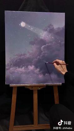 Small Canvas Art, Diy Canvas Art, Acrylic Painting Canvas, Acrylic Art, Canvas Painting Tutorials, Oil Pastel Art, Art Painting Gallery, Aesthetic Painting, Watercolor Art