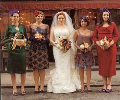 Christina Hendricks Wedding: Bridesmaids dressed in vintage by Allison Leach (stylist on Mad Men)