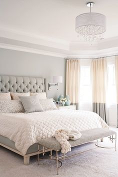 gray, white, and tan bedroom. Great two tone curtains and upholstered headboard! Love the softness of the neutral colors. This is really gorgeous!! If I have a guest room, then this would be it!!