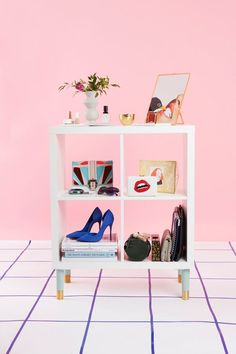 3 Insanely Chic IKEA Hacks You Can Actually Do #refinery29  http://www.refinery29.com/ikea-bookcase-diys#slide-1  The Bedside Storage TableLevel: A CinchIt's just a square box...until you put some hot legs on it. We elevated the unit with some minty Estelle feet from Pretty Pegs, a site that makes some additions specifically for IKEA products. Side tables can easily tally up to $200, so this baby that can house all your clutches is actually still a deal when you buy all the parts.