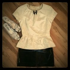 Romantic White Top The gentle color and fine print gives this peplum shirt a very sweet feel. Forever 21 Tops