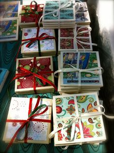 diy coasters - these could be made with old cards or craft paper! Diy Projects To Try, Crafts To Do, Crafts For Kids, Craft Projects, Tile Crafts, Summer Crafts, Paper Crafts, Craft Gifts, Diy Gifts