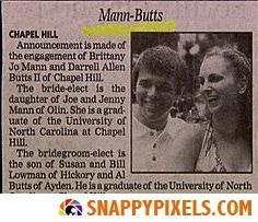 Funny Wedding Announcements in the Newspaper - Snappy Pixels Wedding Name, Wedding Humor, Funny Animal Memes, Funny Animals, Celebrity Names, Wedding Announcements, Famous Celebrities, Funny Signs, Newspaper