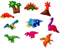 Educational Magnetic Felt Dino Toy Preschool 10 Piece Set Play Dinosaurs T-Rex Volcano Trees