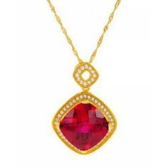 13.84 CTW Ruby 18K Gold / Silver Necklace