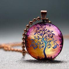 Golden Lilac Modern Art Tree Resin Pendant Picture Pendant Photo Pendant
