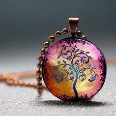 Golden Lilac Modern Art Tree Resin Pendant Picture Pendant Photo Pendant
