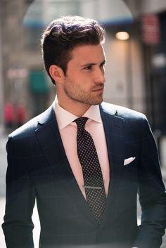 Arthur Keller for Proper Cloth SS 2013 Black Suit Pink Shirt, Blue Suit Men, Black Suits, Terno Slim, Business Outfit, Tailored Suits, Suit And Tie, Well Dressed Men, Gentleman Style