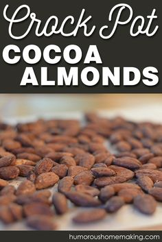 Crock Pot Cocoa Almonds – Humorous Homemaking These Crockpot Cocoa Almonds are so easy and so yummy! All you need to do is cook, stir, cook, and then dump! Then hide them from the kids! Sweet Recipes, Real Food Recipes, Snack Recipes, Cooking Recipes, Vegan Recipes, Slow Cooker Recipes, Low Carb Recipes, Crockpot Recipes, Easy Camping Breakfast