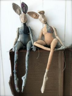 Constance and Fifi Rabbit Cloth art dolls