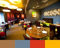 As we know, colors unconsciously shape many aspects of our daily lives. And Design Build Ideas presents 30 amazing restaurant interior design color schemes. Interior Design Color Schemes, Colorful Interior Design, Paint Color Schemes, Interior Paint Colors, Shop Interior Design, Colorful Interiors, Cozy Restaurant, Yellow Restaurant, Wall Color Combination