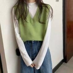 Vest Outfits, Mode Outfits, Cute Casual Outfits, Pretty Outfits, Long Sleeve Outfits, Mode Ulzzang, Mode Ootd, Girl Fashion, Fashion Outfits