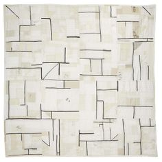 Kiva Motnyk art quilt. Traditional techniques are reimagined through the use of modern materials, textures, and transparencies. Handmade with found and collected textiles, this piece is hand quilted without a batting layer.