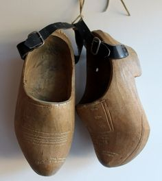 Vintage child's accessory; wooden clogs tied with suede to hang on the wall £12.99