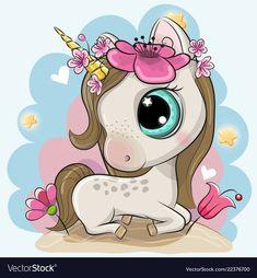 Cartoon Unicorn with flowers on a blue background. Cute Cartoon Unicorn with flowers on a blue background royalty free illustration Cartoon Cartoon, Cartoon Unicorn, Cute Cartoon Girl, Cute Cartoon Animals, Unicorn Art, Cute Unicorn, Cartoon Drawings, Cute Drawings, Cute Animals