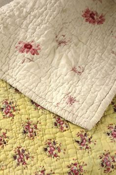 Wonderful French Provencal antique quilt ~ lovely sunny yellow block printed design ~ www.textiletrunk.com