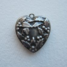 Sterling Puffy Heart Charm with Holly Wreath