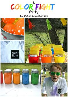 A bright and colorful color fight party with fun DIY detail